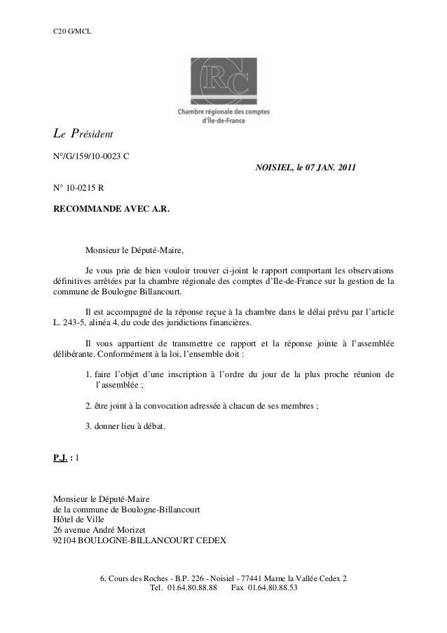 C20 G/MCL Le Président N°/G/159/10-0023 C NOISIEL, le 07 JAN. 2011 N° 10-0215 R RECOMMANDE AVEC A.R. Monsieur le Député-Ma...