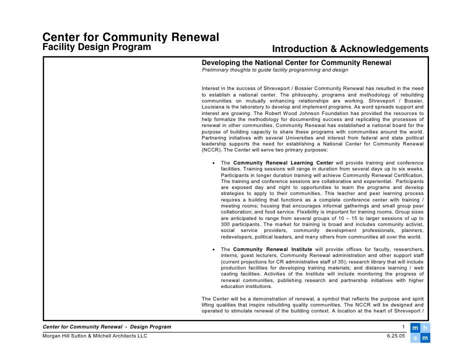 Center for Community Renewal Facility Design Program                                                       Introduction & ...
