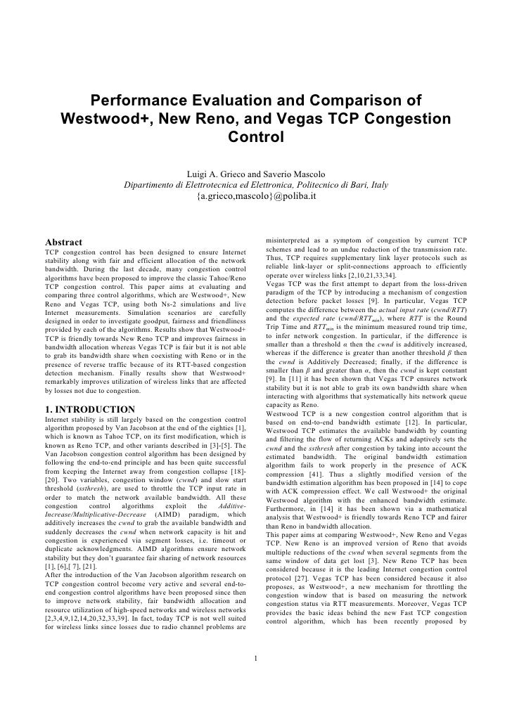 Performance Evaluation and Comparison of      Westwood+, New Reno, and Vegas TCP Congestion                         Contro...