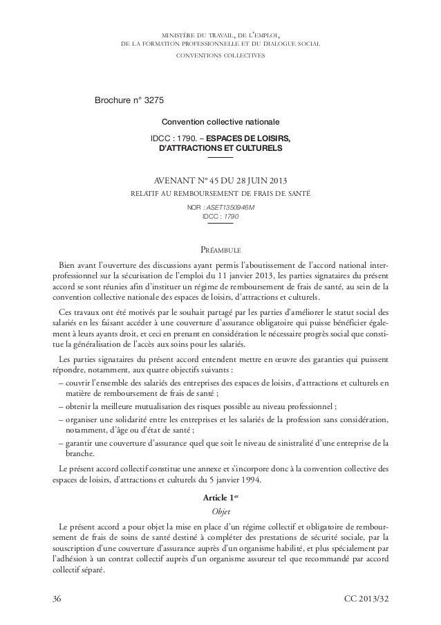 36 CC 2013/32 Brochure n° 3275 Convention collective nationale IDCC : 1790. – ESPACES DE LOISIRS, D'ATTRACTIONS ET CULTURE...