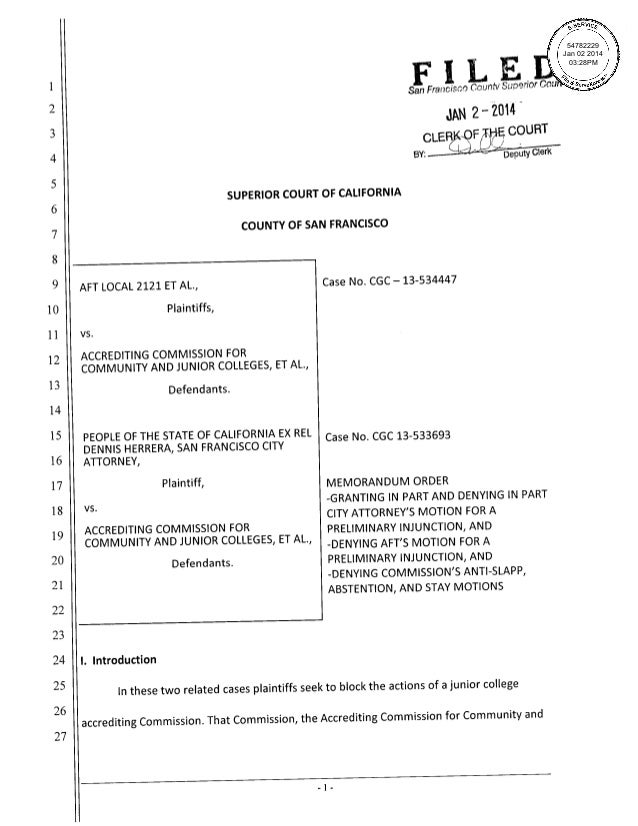 People v. ACCJC Preliminary Injunction Motion