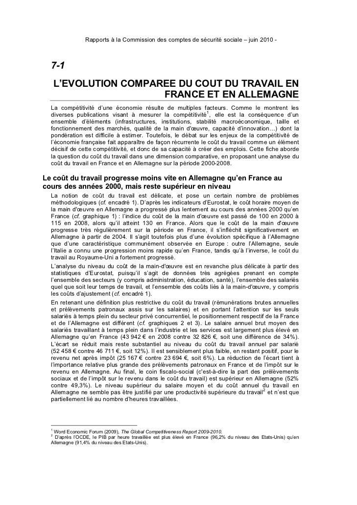 Rapports à la Commission des comptes de sécurité sociale – juin 2010 -  7-1      L''EVOLUTION COMPAREE DU COUT DU TRAVAIL ...