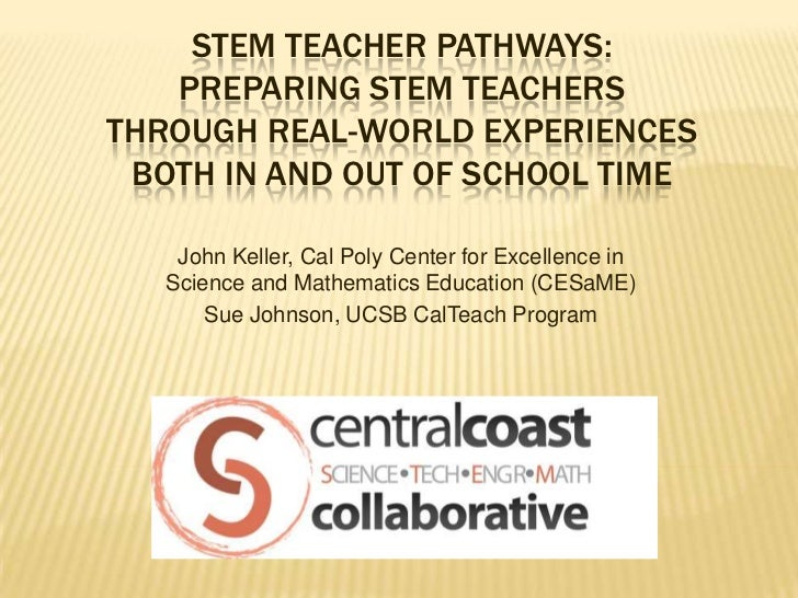 STEM TEACHER PATHWAYS:   PREPARING STEM TEACHERSTHROUGH REAL-WORLD EXPERIENCES BOTH IN AND OUT OF SCHOOL TIME    John Kell...