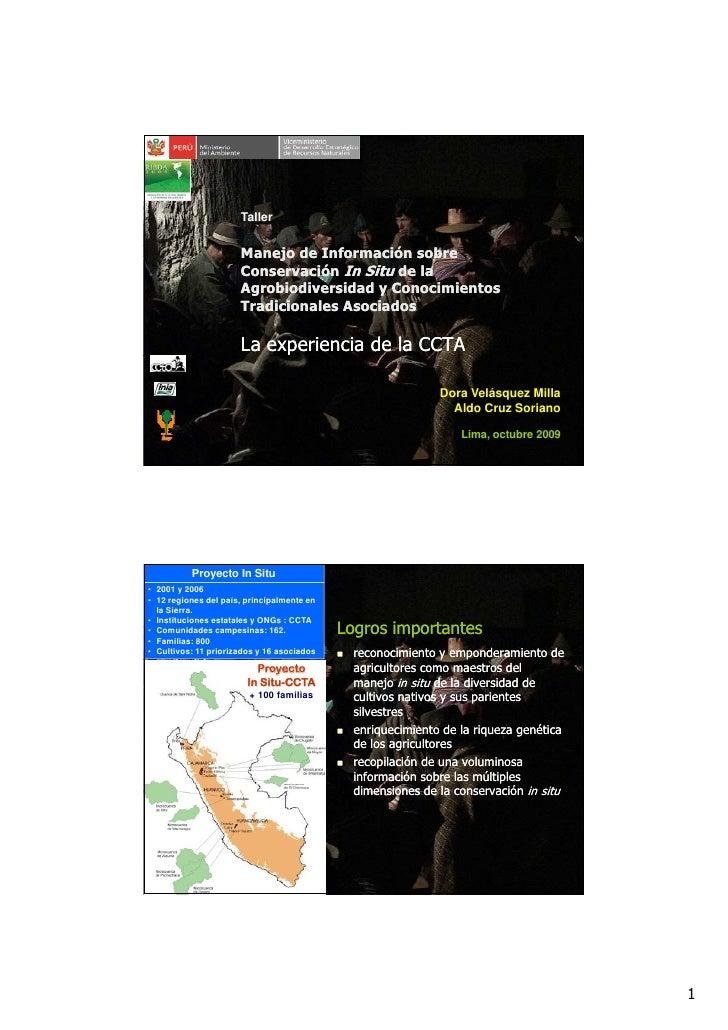 Taller                         Manejo de Información sobre                       Conservación In Situ de la               ...
