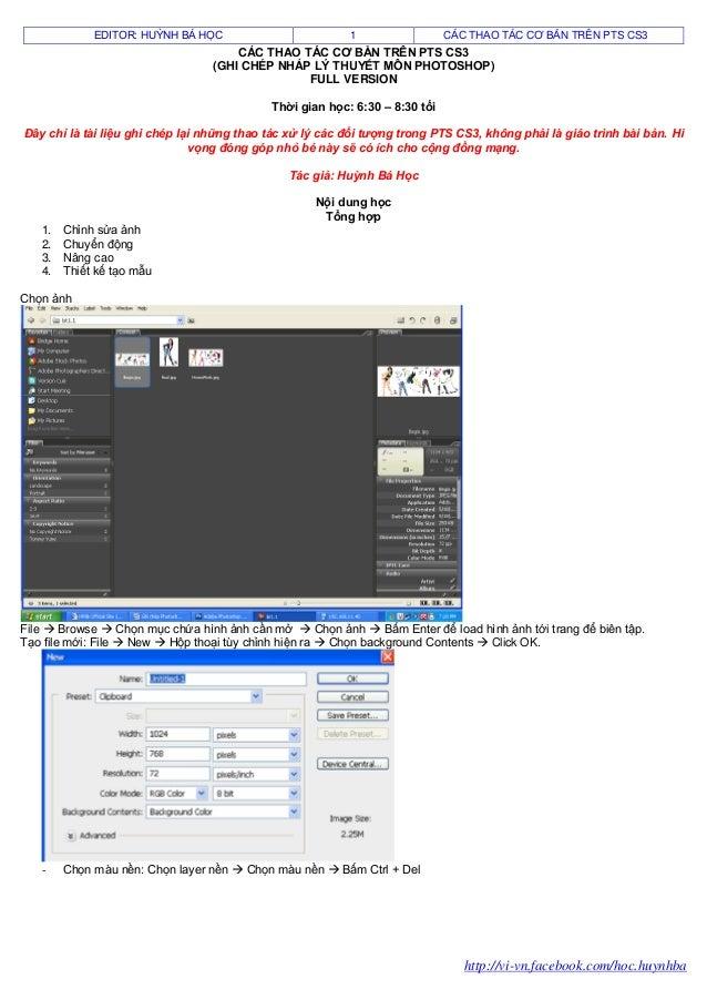 Các thao tác cơ bản trên photoshop cs3 (ghi chép lý thuyết   full version)