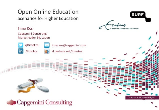 Open and Online Education - Scenario's for Higher Education