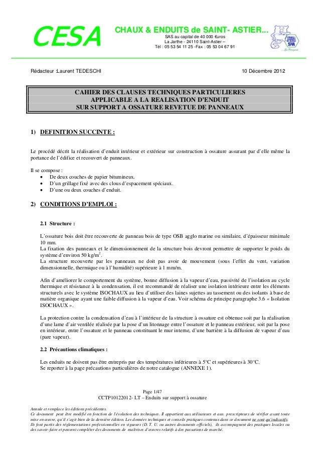 CESA  CHAUX & ENDUITS de SAINT- ASTIER... SAS au capital de 40 000 €uros La Jarthe - 24110 Saint-Astier – Tél : 05 53 54 1...