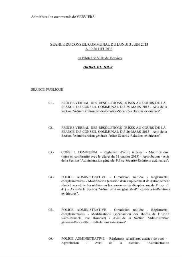 AdministrationcommunaledeVERVIERSSEANCEDUCONSEILCOMMUNALDULUNDI3JUIN2013A19.30HEURESenlHôteldeVilledeVer...