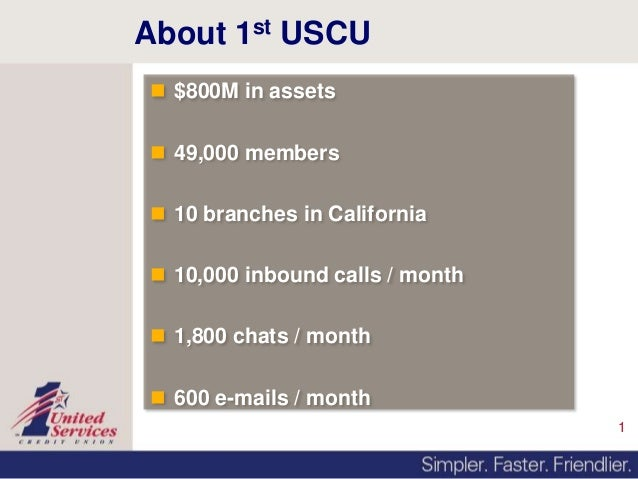 1About 1st USCU $800M in assets 49,000 members 10 branches in California 10,000 inbound calls / month 1,800 chats / m...