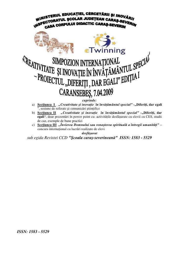Cd Ul  Realizat Sub Egida Revistei Ccd şCoala Caraş Severineană  Issn 1583   5529 In Urma Simpozionului International