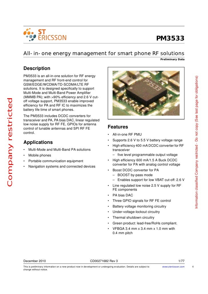 PM3533                     All-in-one energy management for smart phone RF solutions                                      ...