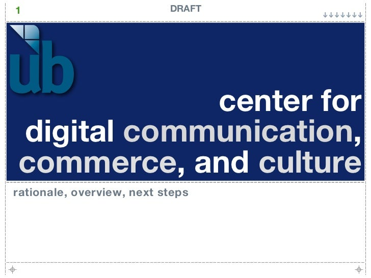 1                          DRAFT            center fordigital communication,commerce, and culturerationale, overview, next...