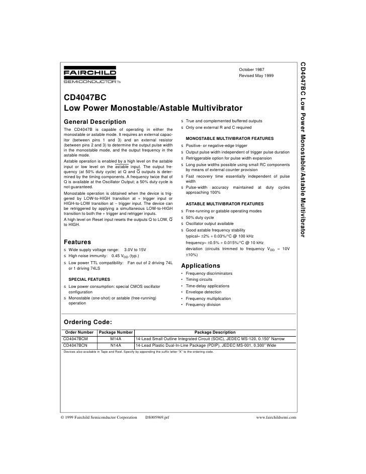 CD4047BC Low Power Monostable/Astable Multivibrator                                                                       ...