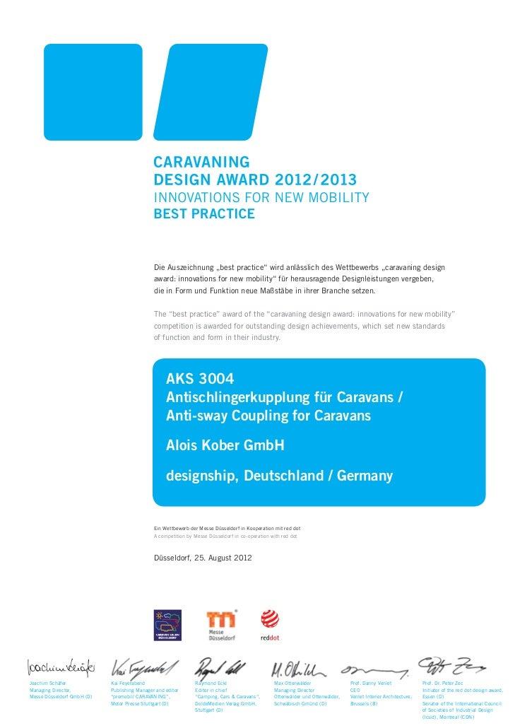 """Die Auszeichnung """"best practice"""" wird anlässlich des Wettbewerbs """"caravaning design                                       ..."""
