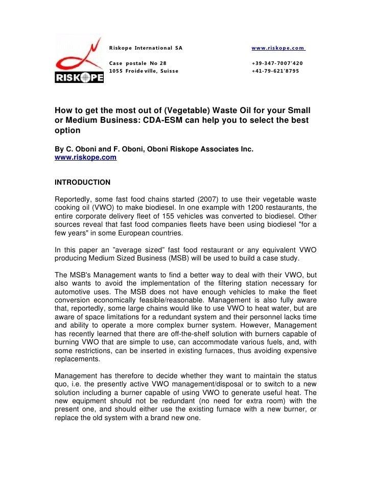 Cda esm waste oil disposal application part 2