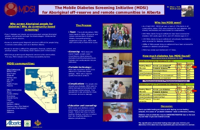 The Mobile Diabetes Screening Initiative (MDSi)for Aboriginal off-reserve and remote communities in AlbertaDr. Ellen L. To...
