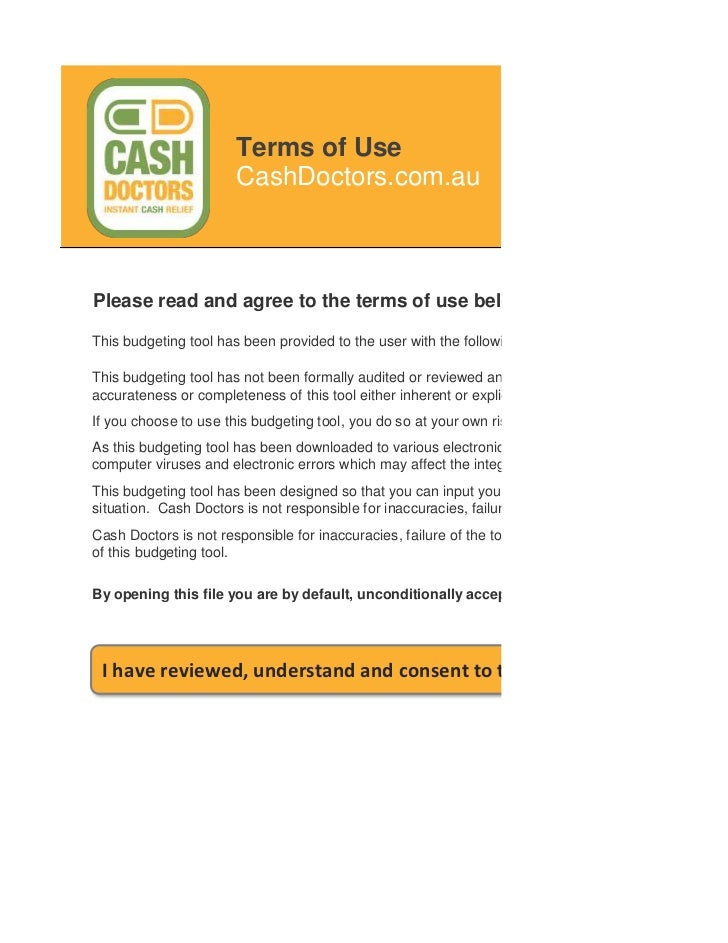 Terms of Use                       CashDoctors.com.auPlease read and agree to the terms of use below before using this bud...