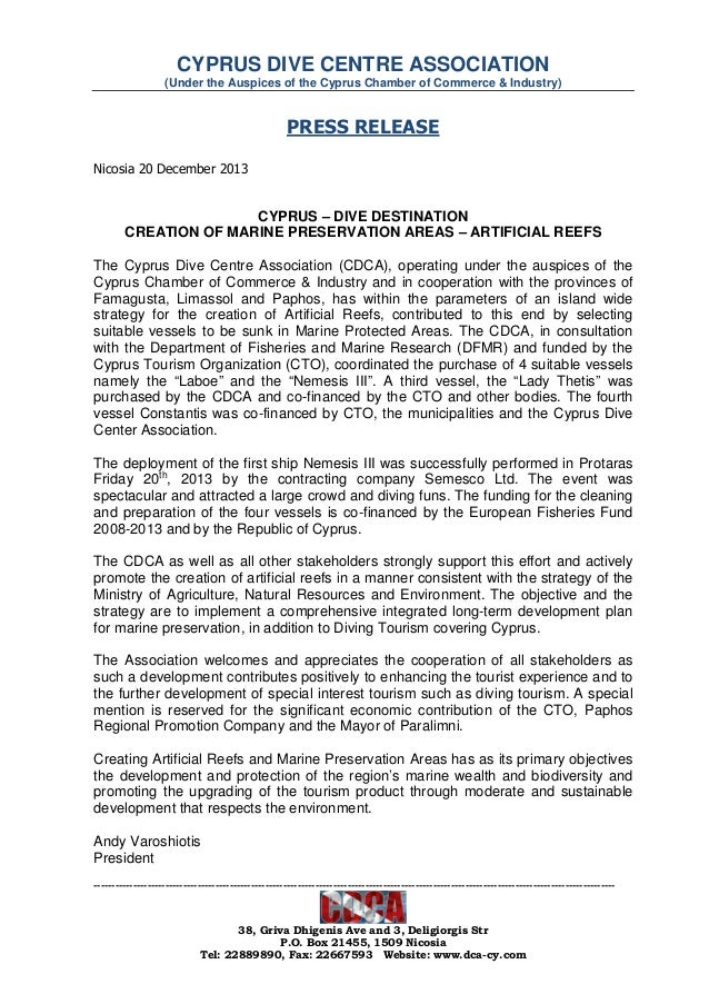 CYPRUS DIVE CENTRE ASSOCIATION (Under the Auspices of the Cyprus Chamber of Commerce & Industry)  PRESS RELEASE Nicosia 20...