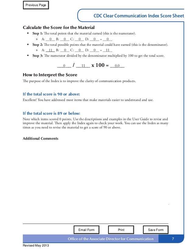 Index Scoring Sheet Index Score Sheet