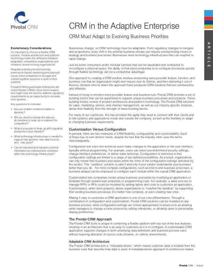 CRM in the Adaptive Enterprise                                                  CRM Must Adapt to Evolving Business Priori...
