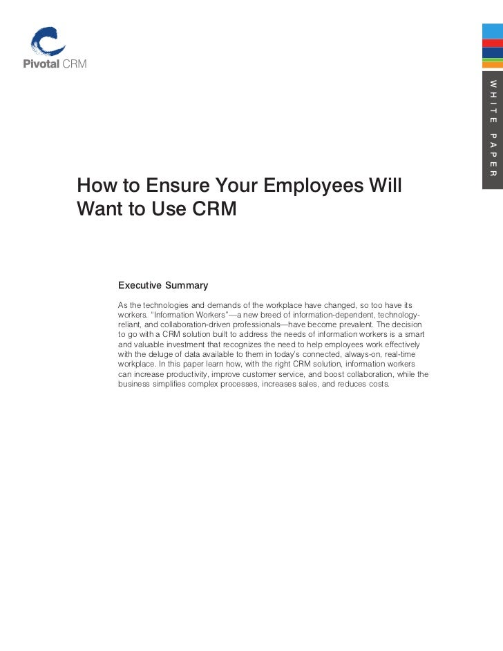Pivotal CRM Whitpapers - Ensuring Employees use CRM