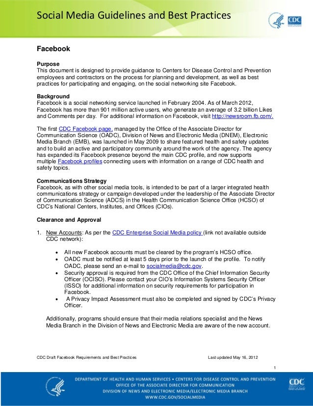 Social Media Guidelines and Best PracticesFacebookPurposeThis document is designed to provide guidance to Centers for Dise...