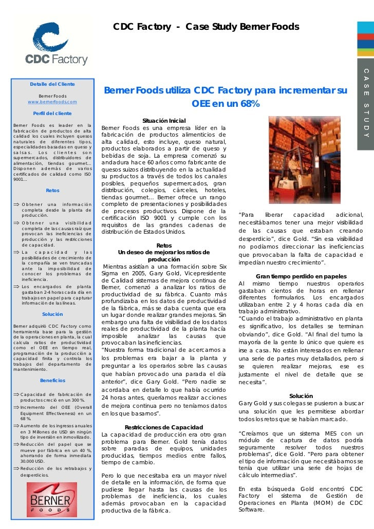 CDC Factory - Case Study Berner Foods             Detalle del Cliente            Berner Foods                             ...