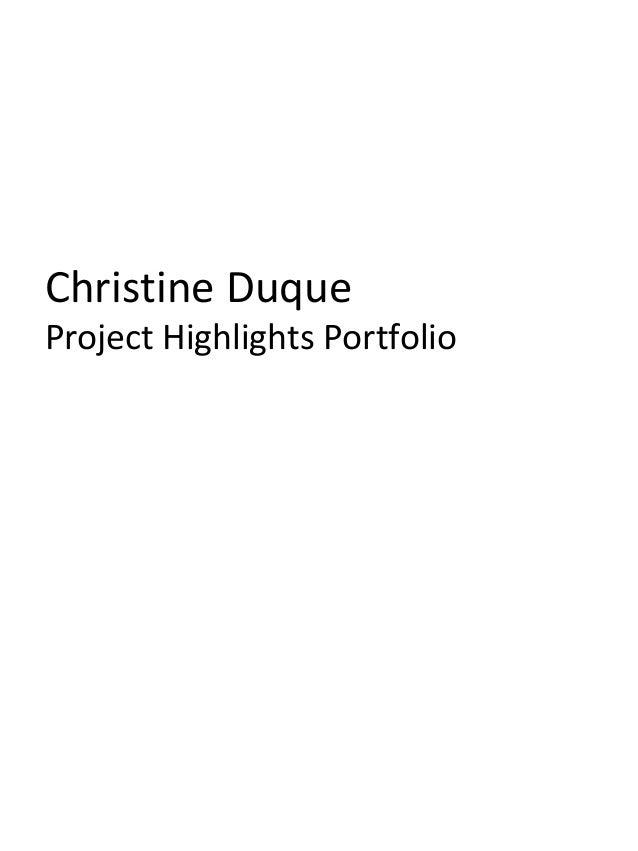 Christine Duque  Project Highlights Portfolio