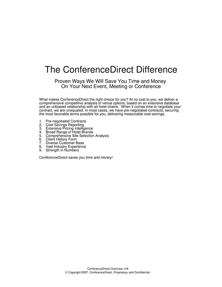 CD Difference - why choose ConferenceDirect for your hotel selection and meeting management needs