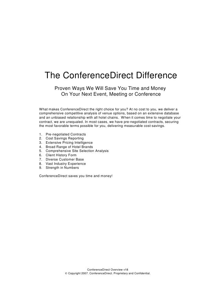 The ConferenceDirect Difference           Proven Ways We Will Save You Time and Money              On Your Next Event, Mee...