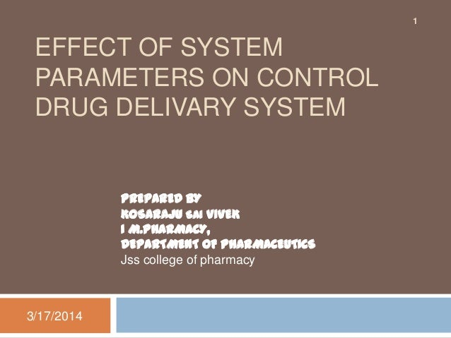 EFFECT OF SYSTEM PARAMETERS ON CONTROL DRUG DELIVARY SYSTEM 3/17/2014 1 PREPARED BY KOSARAJU SAI VIVEK I M.PHARMACY, DEPAR...