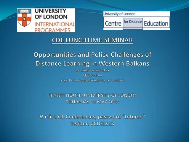Structure of the presentation The Western Balkans: Regional background Western Balkans and UK distance learning VLE tre...