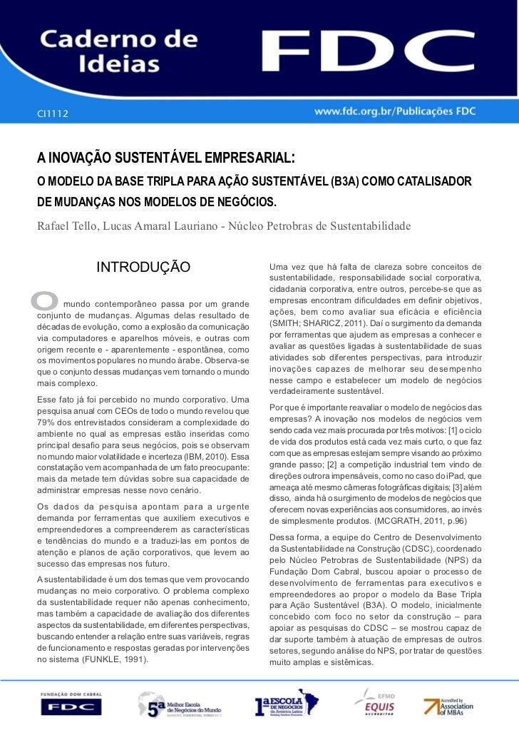 CI1112      Gestão Estratégica do Suprimento e o Impacto no      Desempenho das       Empresas BrasileirasA INOVAÇÃO SUSTE...