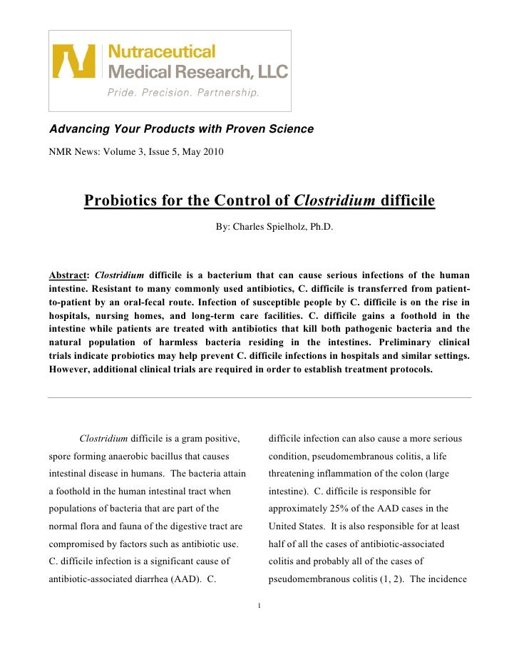 Advancing Your Products with Proven Science NMR News: Volume 3, Issue 5, May 2010             Probiotics for the Control o...