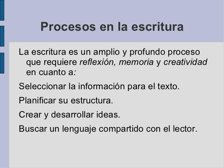 Procesos en la escritura <ul>La escritura es un amplio y profundo proceso que requiere  reflexión, memoria  y  creatividad...