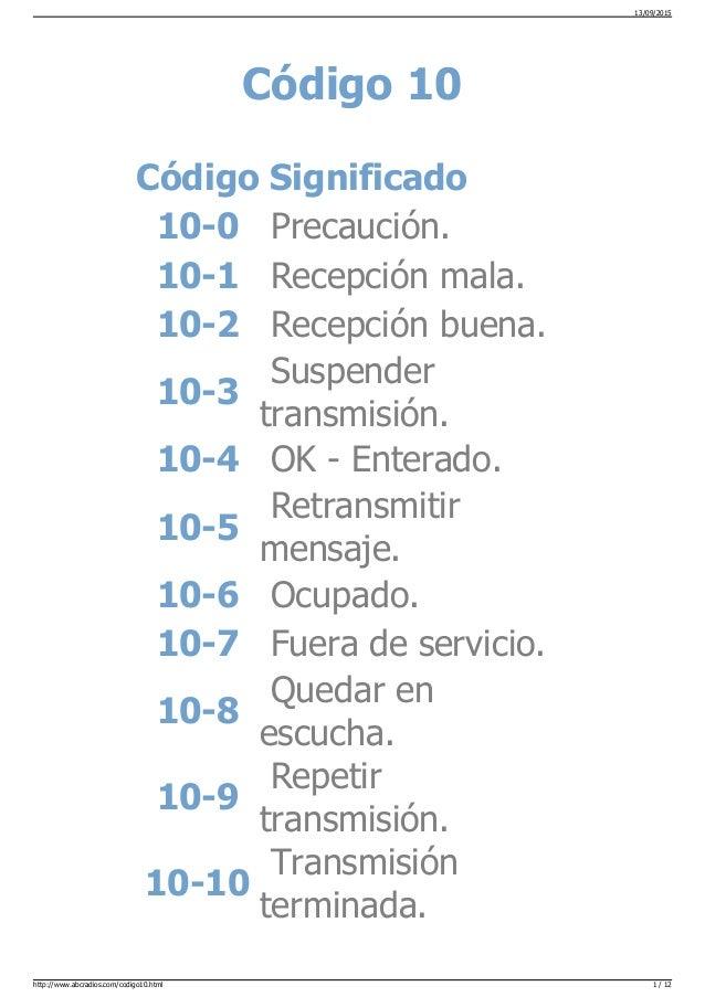 Código 10 Código Significado 10-0 Precaución. 10-1 Recepción mala. 10-2 Recepción buena. 10-3 Suspender transmisión. 10-4 ...