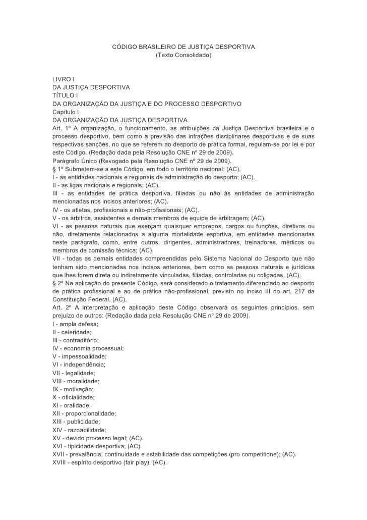 Código Brasileiro De Justiça Desportiva 2010