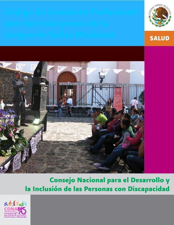 Código de Conducta Profesional  para los Intérpretes de la  Lengua de Señas Mexicana
