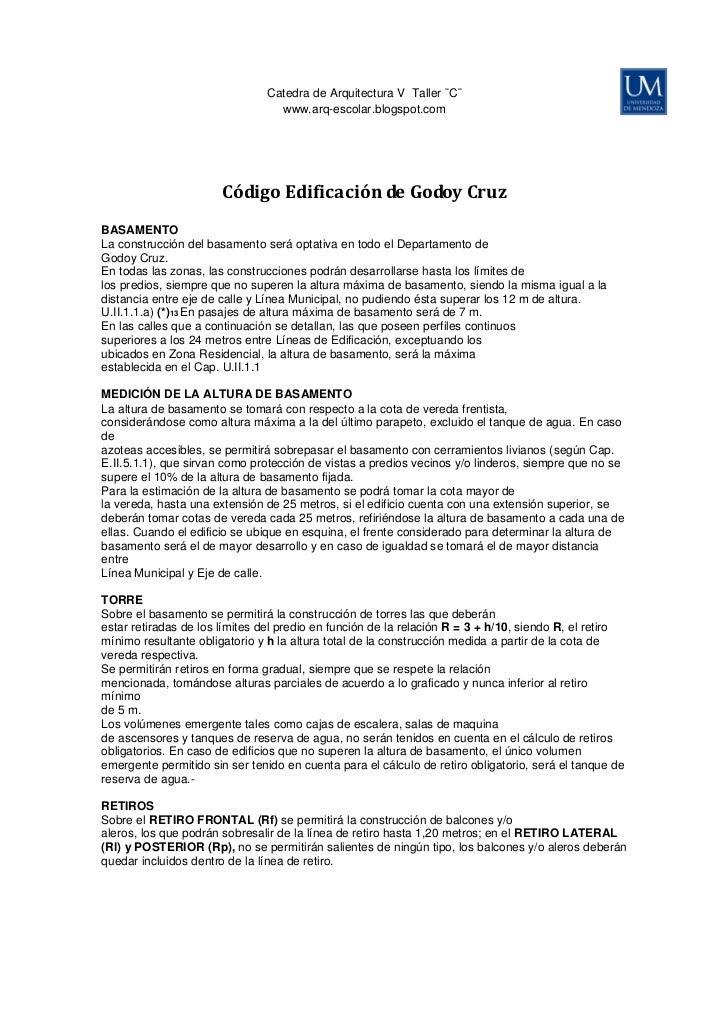 Código de edificacion de godoy cruz