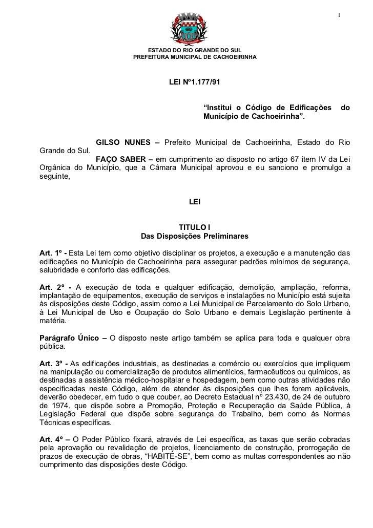 Código de edificações do município cachoeirinha   rs