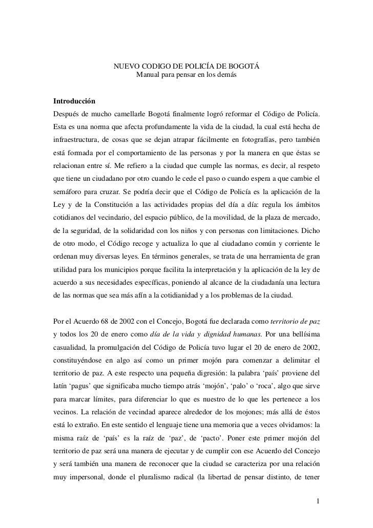 NUEVO CODIGO DE POLICÍA DE BOGOTÁ                        Manual para pensar en los demásIntroducciónDespués de mucho camel...