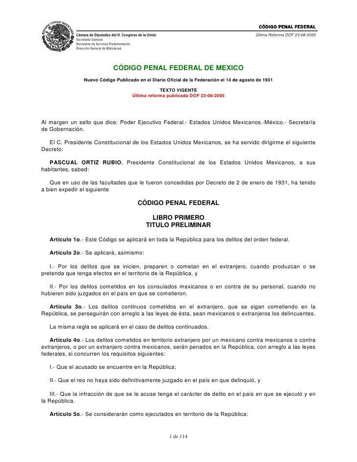 Código Penal de México. www.iestudiospenales.com.ar