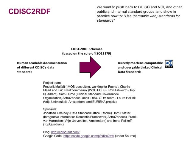 We want to push back to CDISC and NCI, and otherCDISC2RDF                                           public and internal st...