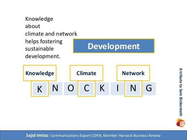 Development  Knowledge  about  climate and network  helps fostering  sustainable  development.  K N O C K I N  G  Sajid Im...