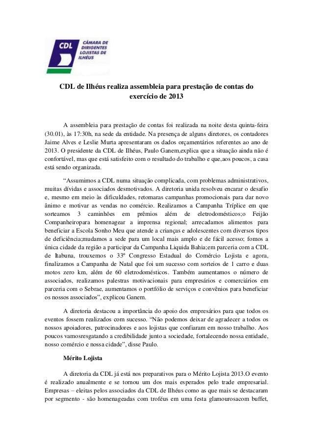 Cdl de Ilhéus realiza assembleia para prestação de contas do exercício de 2013