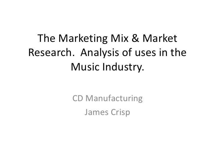 The Marketing Mix & MarketResearch. Analysis of uses in the        Music Industry.         CD Manufacturing            Jam...