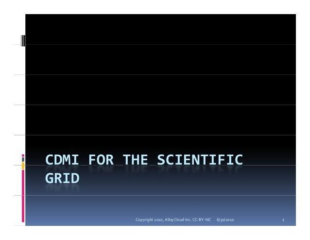 CDMI for the Scientific Grid