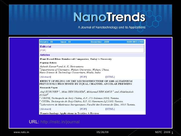 06/10/09 1 www.nstc.in  NSTC  2009 URL:  http://nstc.in/journal