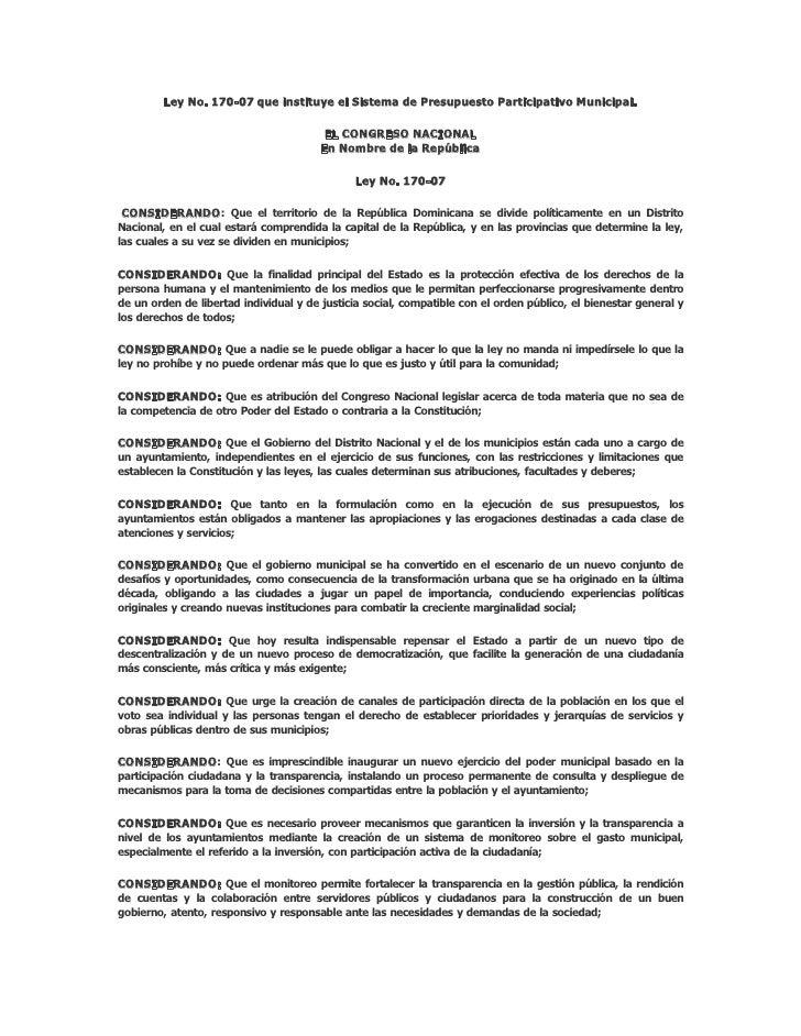 Ley No.170-07