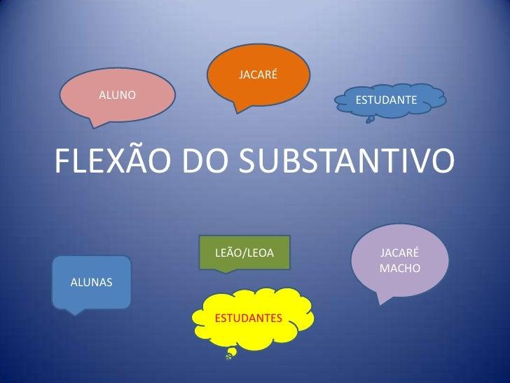 FLEXÃO DO SUBSTANTIVO<br />JACARÉ<br />ALUNO<br />ESTUDANTE<br />JACARÉ MACHO<br />LEÃO/LEOA<br />ALUNAS<br />ESTUDANTES<b...